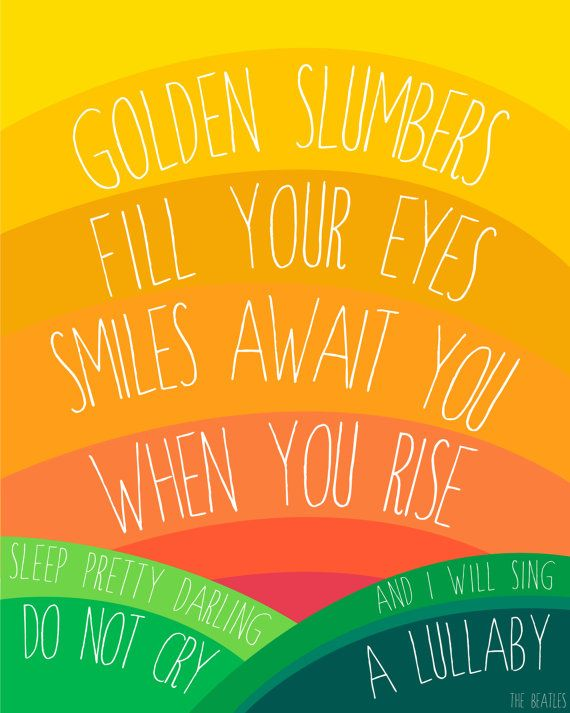 The Beatles. Golden Slumbers Fill Your Eyes, 8x10 Illustrated Print #nursery #kidsroom #beatles