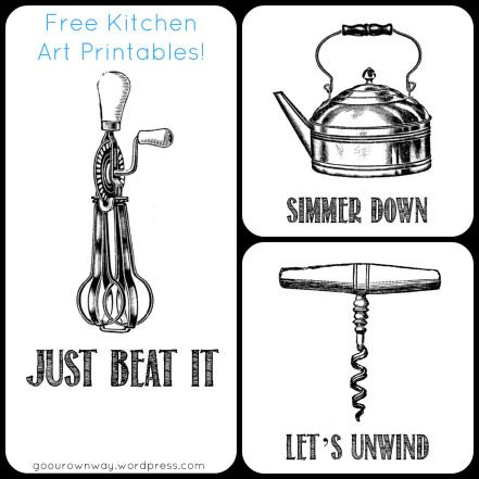Free Kitchen Art Printables! These would look cute on brown paper in frames. - FOR M!!!