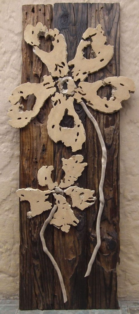 28 - Driftwood flowers on weathered wood