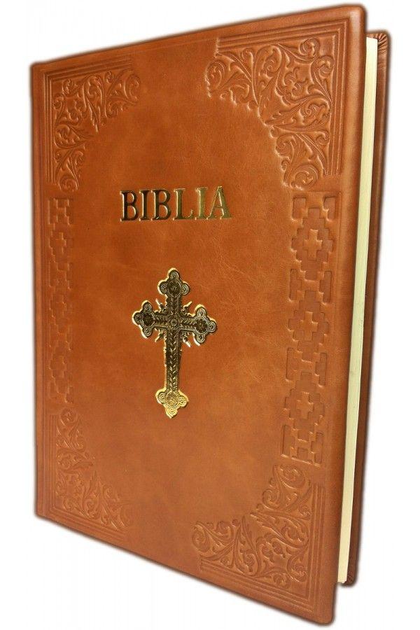 Biblia cu scris foarte mare, marime foarte mare, format A4, coperta piele, prelucrata manual, maro deschis, cu cruce [SB 093 HM]
