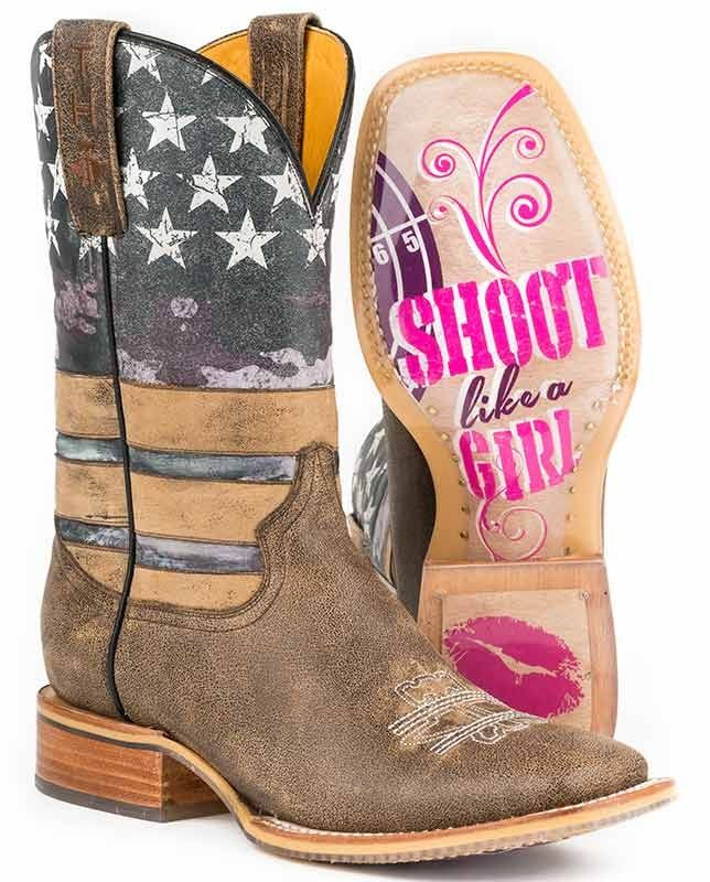 Tin Haul American Woman Square Toe Boots with Shoot Like A Girl Sole