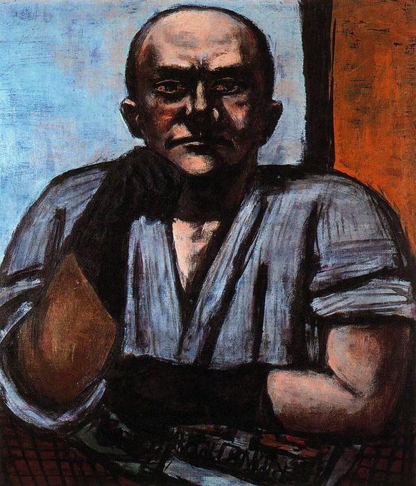 """""""autorretrato con oscuro azul `gloves`"""" de Max Beckmann (1884-1950, Germany)"""