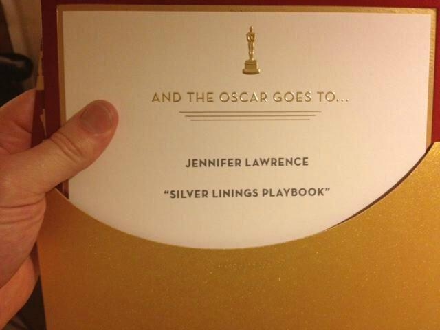 Jennifer Lawrence's Oscar winning envelope