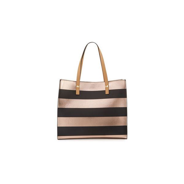 Neiman Marcus Brigitte Metallic Striped Tote Bag ($70) ❤ liked on Polyvore featuring bags, handbags, tote bags, striped tote, stripe tote, metallic tote bag, studded tote bag and handbags totes