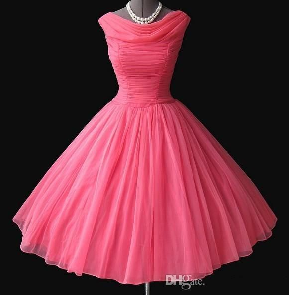 Cheap 50s Style Cocktail Dress In Purple Chiffon Boat Neckline Custom Size And Color Wedding Party Gowns for Bridesmaid Pleated Ruffles, $85.87 | DHgate.com