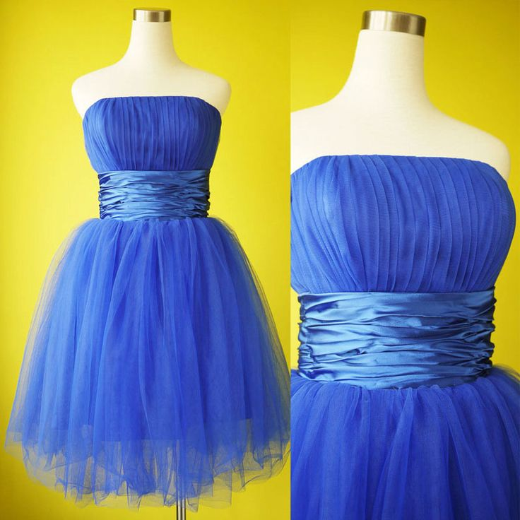 Electric blue bridesmaid dress tulle bandeau by prototypedesign