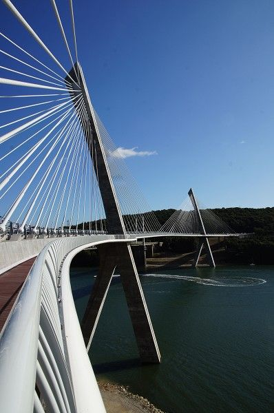 Térénez Bridge in France has the longest curved span for a cable-stayed bridge