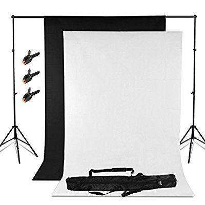 BPS Backdrop Kit Fondo Fotografía Estudio - 2x2m Sistema Soporte de Fondo + Fondos 1.6x3m (negro,blanco), Telón de Fondo de Vinilo para Disparo de Retrato y Vídeo