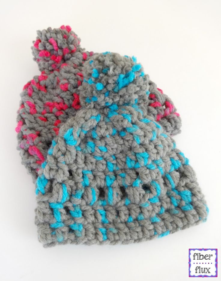 Happy Kid Lids, free crochet pattern from Fiber Flux...lofty, cozy, and works up in just 8 rounds!