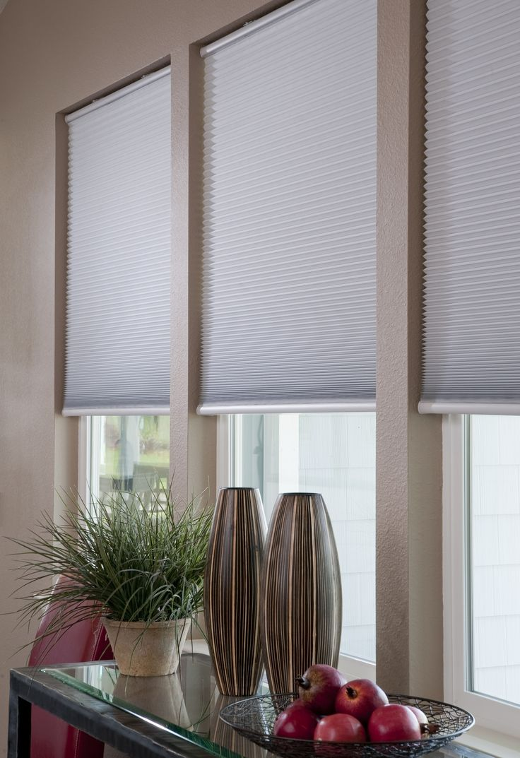 Easy Elegance Black Out Cordless Cellular shade in white. This shades is easily trimmed at home for a perfect fit, and is a snap to install. The honeycomb cellular fabric provides a clean, crisp look while aiding in energy efficiency. Black out blocks light, while providing maximum privacy and room darkening.