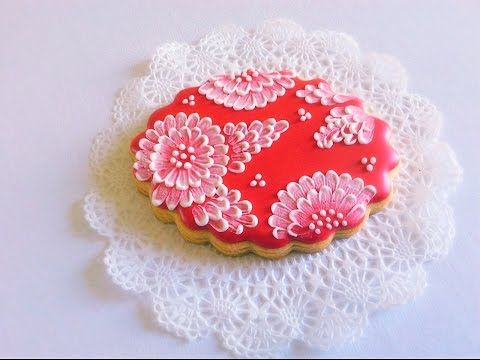 Brush embroidery cookie - YouTube VIDEO. Prettiest brush embroidery that I've seen