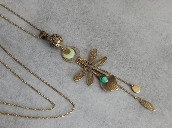 Sautoir Bronze Libellule Perle d'Agate Verte Sequin Email Vert Perle filigrané - Bijou Artisanal