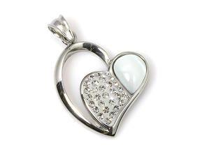 Přívěsek PK0133 ve tvaru srdce s polodrahokamem a krystalky Swarovski elements - Sperkymoda.cz