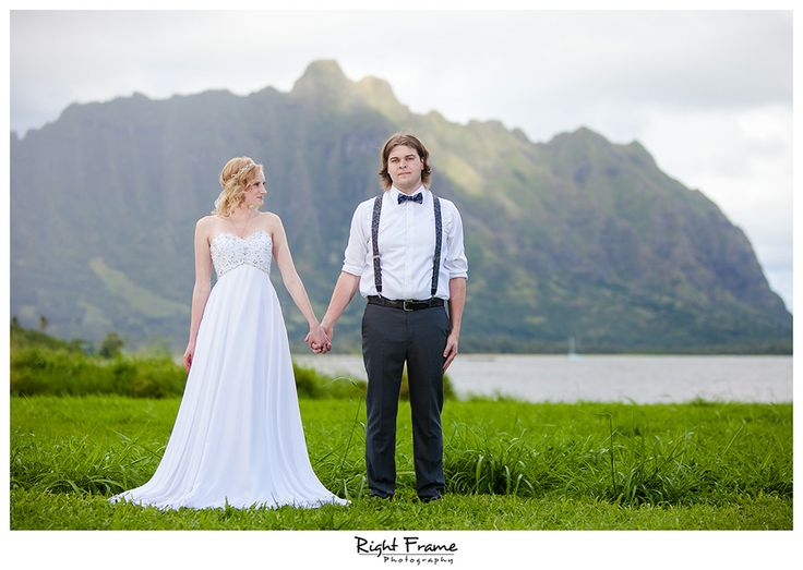 www.rightframe.net -  Ceremony location | Wedding ceremony in Kualoa Beach Park (Kualoa Regional Park), Oahu Oahu Wedding Minister | Rev. Kalona  (A Rainbow in Paradise Weddings) Oahu Wedding Coordinator | Lisa Makaneole (Maui'd Forever) Oahu Wedding Photographers | Right Frame Photography Paliku Gardens