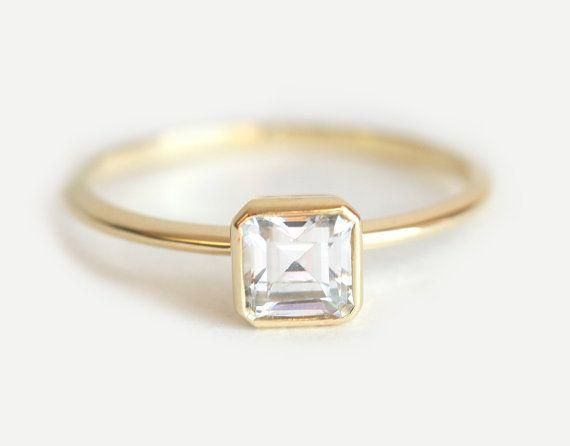 Solitario diamante, anillo de diamantes Asscher, Asscher cortar anillo, Asscher corta el anillo de compromiso, anillo de diamantes modernos, 18k oro anillo de diamante
