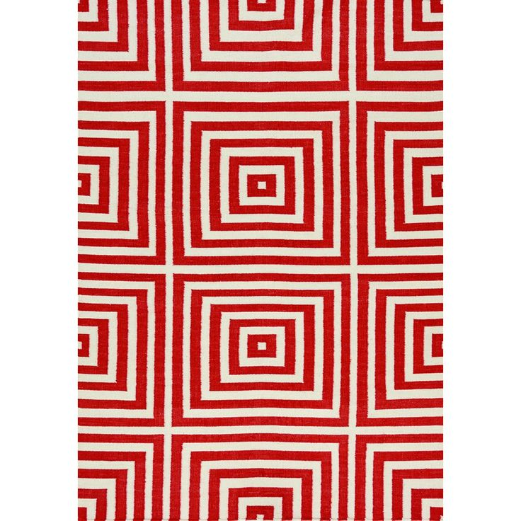 "Shell Red/ Cream Optical Illusion Flatweave Rug (7'10 x 10'6) (7'10"" x 10'6""), Size 7' x 10' (Polyester, Abstract)"