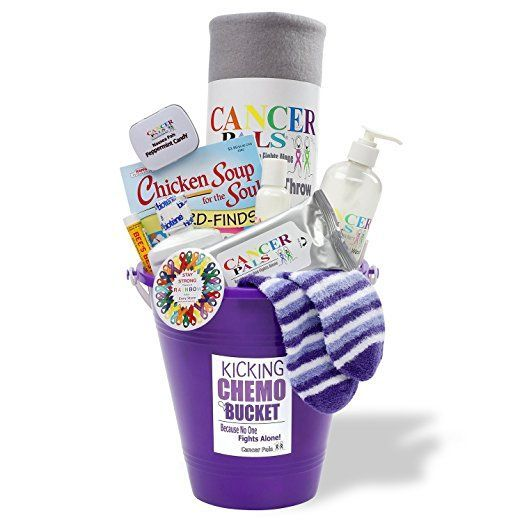 Cancer Patient Gift and Chemotherapy Gift Basket-Kicking Chemo Bucket (Purple)