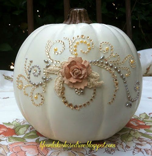 Pumpkin Decorating Ideas:  Make a glitzy pumpkin with rhinestones and flowers
