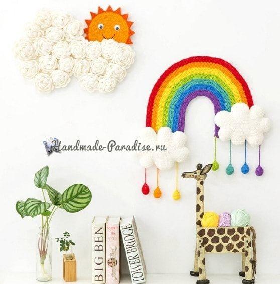 Радуга с облаками. Панно для детской комнаты | Вязаные ...