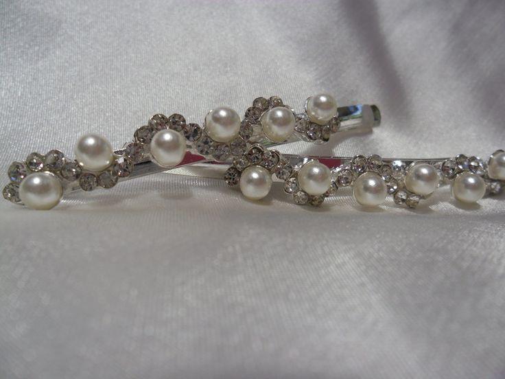 Hairclips - Silver/Pearl