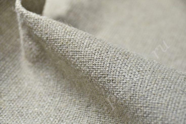 Грубая льняная ткань серого цвета 329/м