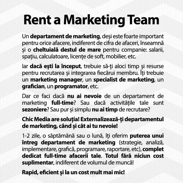 Externalizează-ți departamentul de #marketing, când și cât ai tu nevoie!  1-2 zile, o săptămână sau o lună, îți oferim puterea unui întreg departament de marketing (strategie, analiză, implementare, grafică, programare, raportare, etc), complet dedicat full-time afacerii tale. Totul fără niciun cost suplimentar, indiferent de volumul de muncă!  Rapid, eficient și la un cost mult mai mic!  http://ChicMediaGroup.ro/