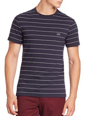 LACOSTE Jacquard Striped Tee. #lacoste #cloth #tee