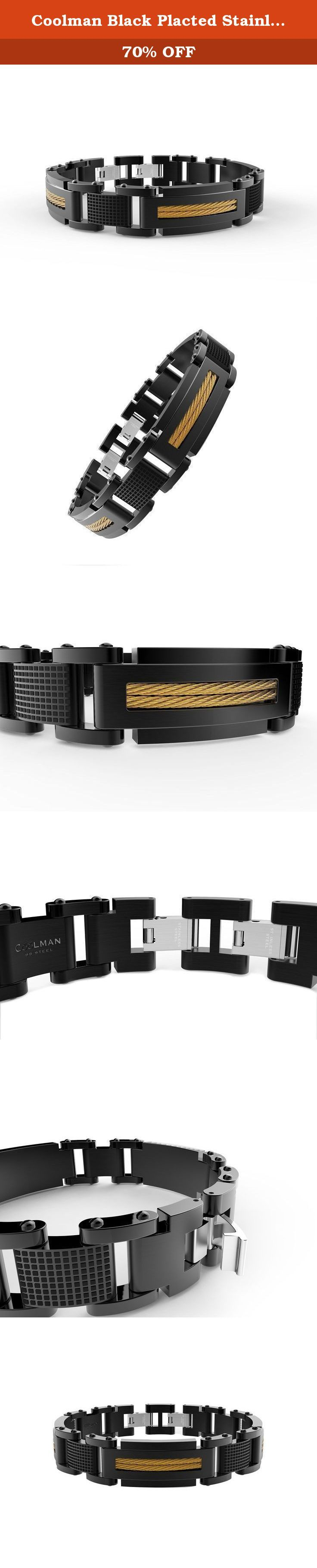 Coolman Black Placted Stainless Steel Cable Wire Inlaid Jewelry Fashion Bracelets Cross Bracelets. This beautiful Cable Wire inlayed Wrist Bracelet is 9inches in length. High quality---Hand Brus hed and Polished by professional workers.Produced under Serious Quality Control; CNC technology ;One by One Checking; Focus on Detail Processing. For the first sight, you must be attracted by the fashion design. Six Cable Wires inlayed into the Wrist Bracelet by CNC technology which special...