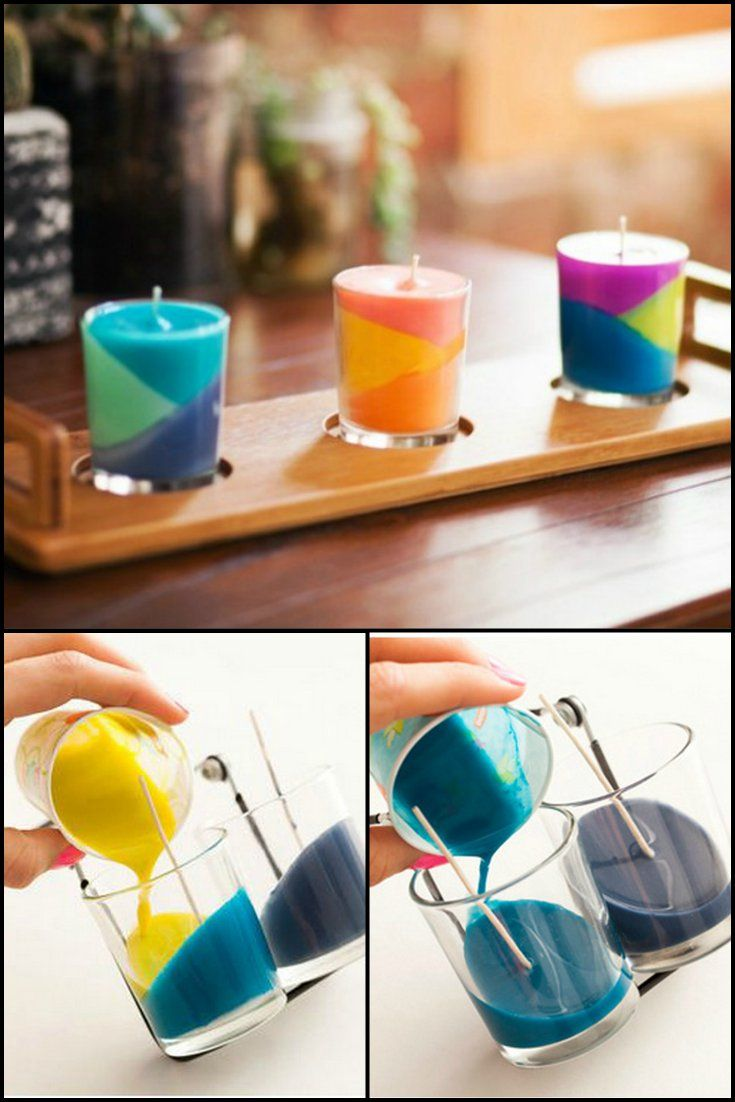 How To Make Candles Out Of Your Kid's Broken Crayons  http://craft.ideas2live4.com/2015/04/24/diy-candles-from-crayons/  Have small pieces of wax crayons that your kids can't use anymore? Don't throw them and create small colorful candles instead.