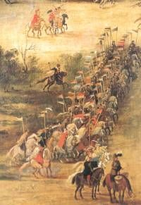 Polish Hussars preparing to charge Swedish lines at the battle of Kircholm 1605