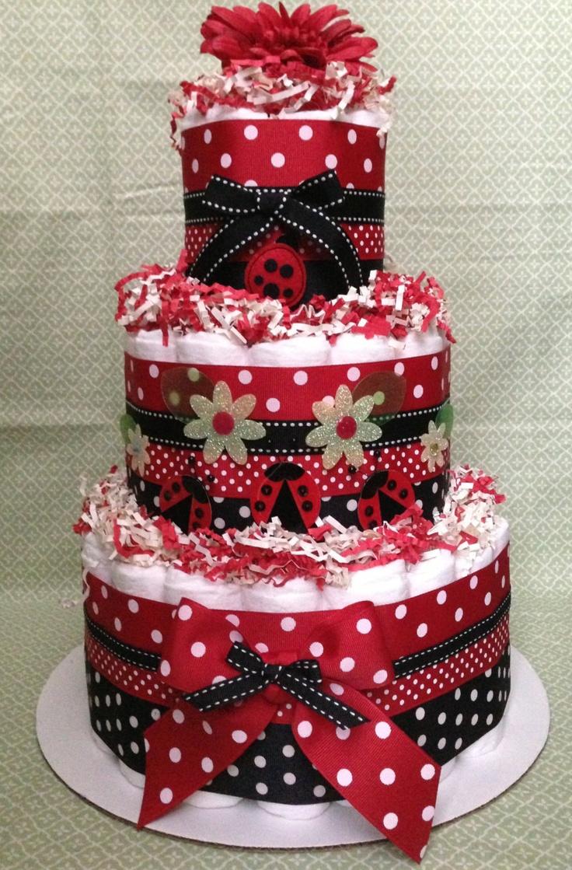 ladybug diaper cake for baby shower centerpiece or new baby gift red diaper cake baby girl diaper cake ladybug baby shower