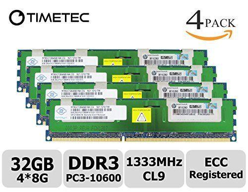 timetec nanya 32gb kit 4x8gb ddr3 1333mhz pc3 10600 registered ecc 15v