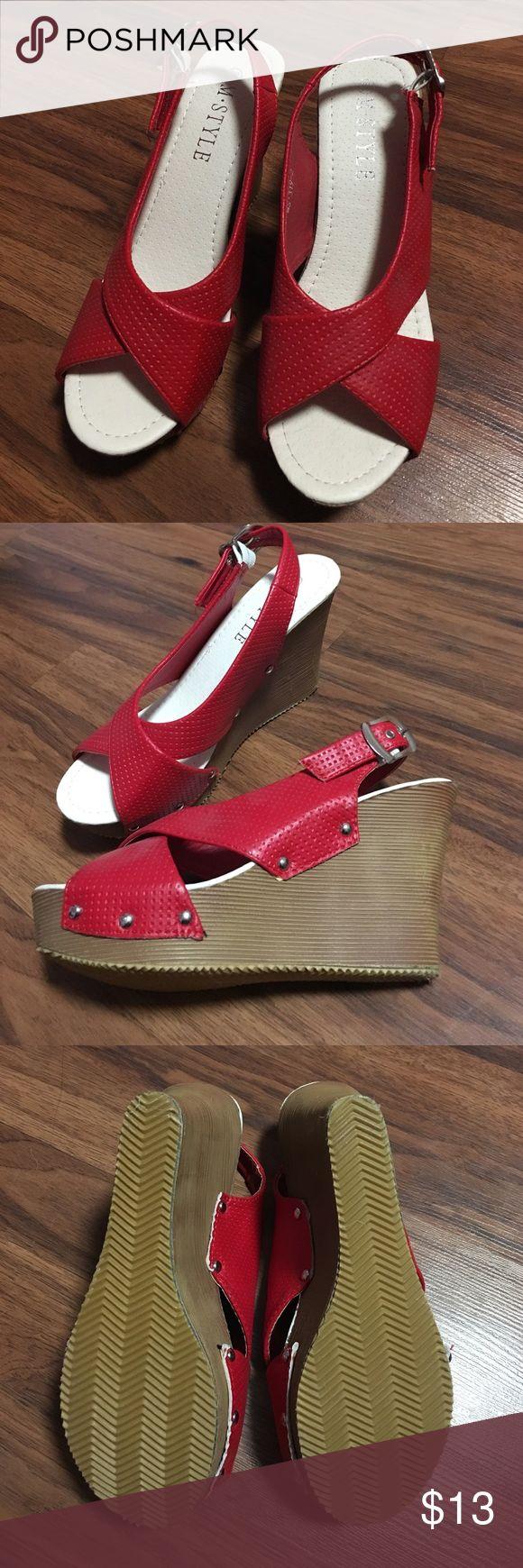 Red platform wedges NWOT Red leather straps, adjustable, brown wedges, never used size 7 Shoes Wedges