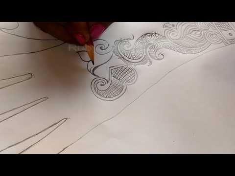 how to draw henna designs on paper