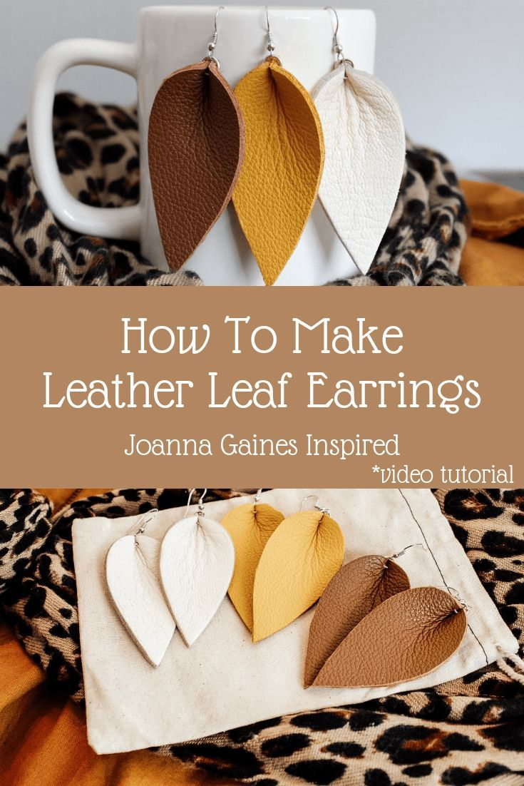 0e52be6f2 diy joanna gaines earrings // diy leather earrings // diy leather leaf  earrings /