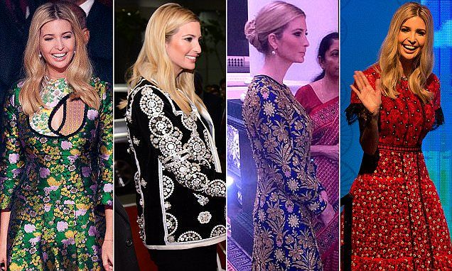 Botox Barbie Ivanka Trump dons Oriental-style gowns on trip to India...Internet exploded with comments   Daily Mail Online