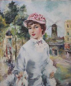 Gustave Cherie French Artist Large Originl Oil Parisian Woman ...