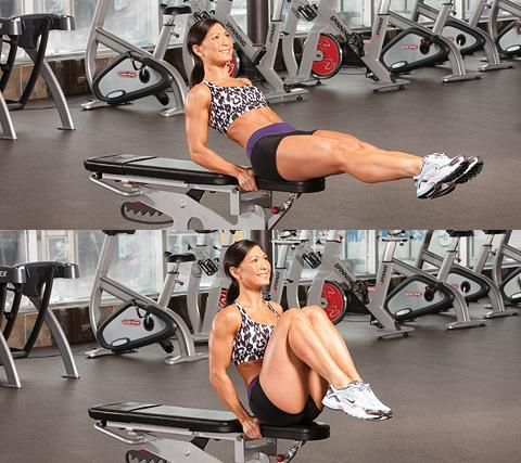 BENCH KNEE TUCK: (Set Up) Sit on the end of a bench, hold the edges for support, and bring your knees towards your chest. (Action) Lean back about 45 degrees and straighten your legs. Hold before bending your knees to bring them back towards your chest. (2-3 sets of 12-15 reps)