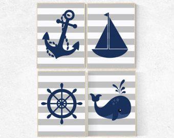 Arte de pared de guardería náutica, decoración de guardería marina gris, la ballena de vivero decoración dormitorio de bebé niño, estampas náuticas, decoración de sala de juegos, guardería náutica