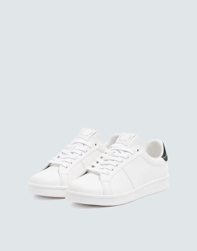 Urban Trainers With Check Detail Pull Bear White Sneaker Lace Up Trainers Trainers