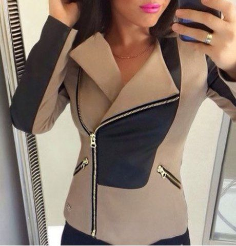 Stylish Turn-Down Collar Long Sleeve Color Block Slimming Women's Jacket Jackets | RoseGal.com Mobile