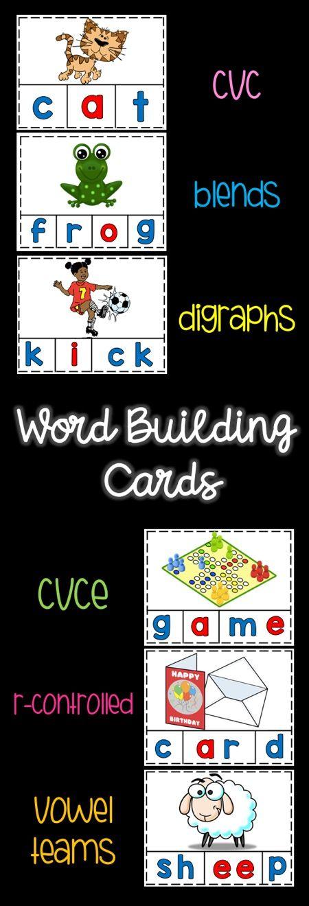 Word Building Cards-word work-cvc-blends-digraphs-cvce-rcontrolled-vowel teams
