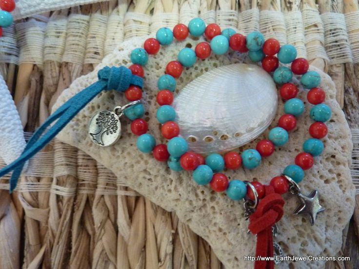 Kids Turquoise & Red Coral Bracelet - Inspirational handmade gemstone jewellery Earth Jewel Creations Australia