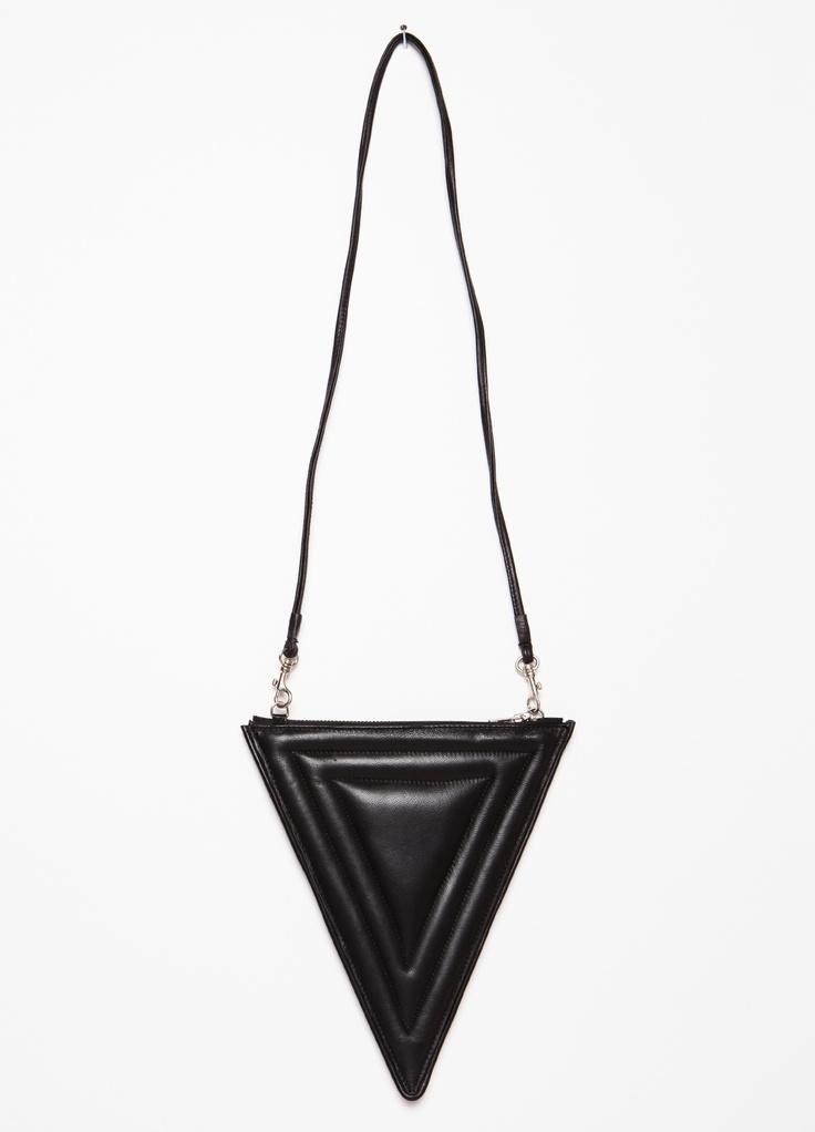 Faux leather black triangle purse with zipper closure.
