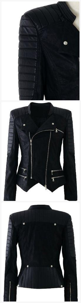 Faux leather zipper biker jacket