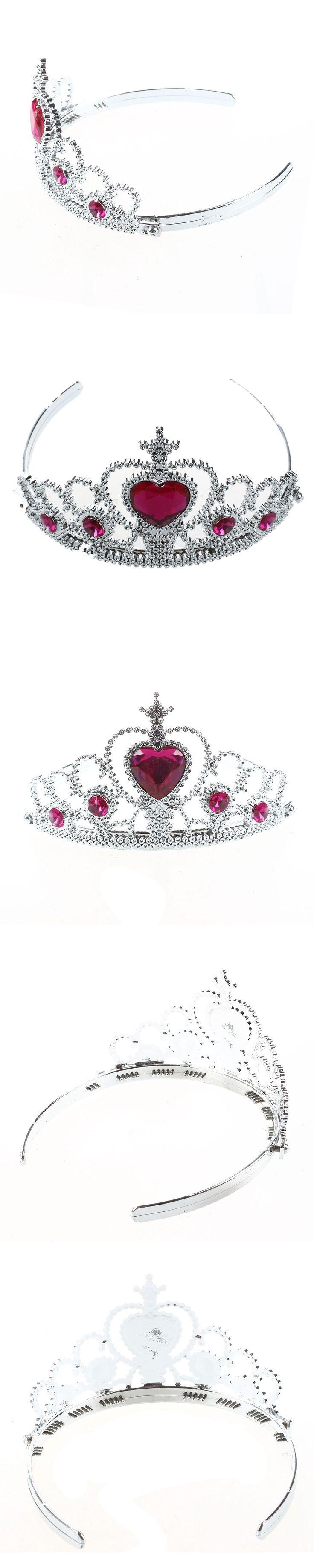 Woman Party Crown Plastic Red Heart Round Rhinestone Headband Hair Band