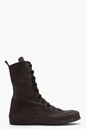 Ann Demeulemeester Black Suede Ultra High-top Sneakers for men