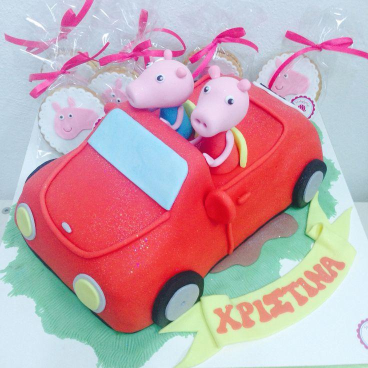 #Peppa and #George #car #cake by #sketiglyka