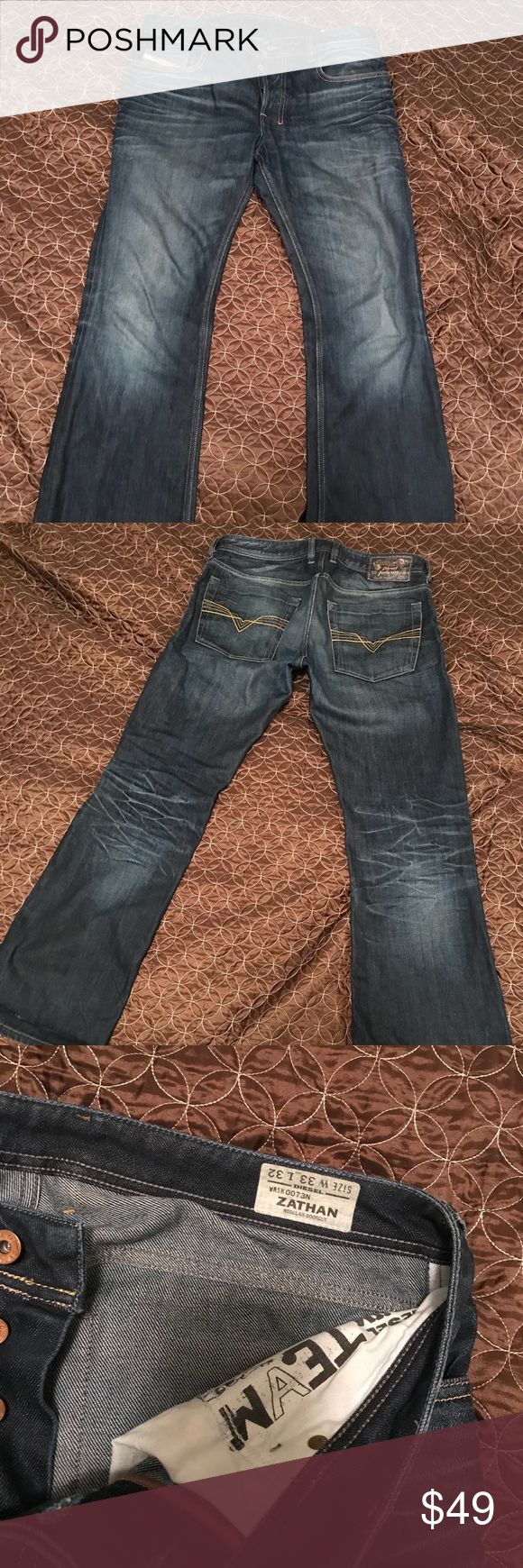 Diesel Zathan men's jeans Great condition Mens Diesel Zathan Jeans. W 33, L 32. There is a line on the bottom where it was folded, unnoticeable when you wear it. Other than that no signs of wear. Diesel Jeans Straight