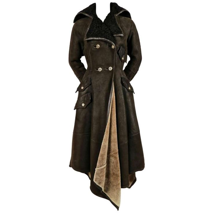 1993 GIANNI VERSACE olive shearling coat with Astrakhan trim 1